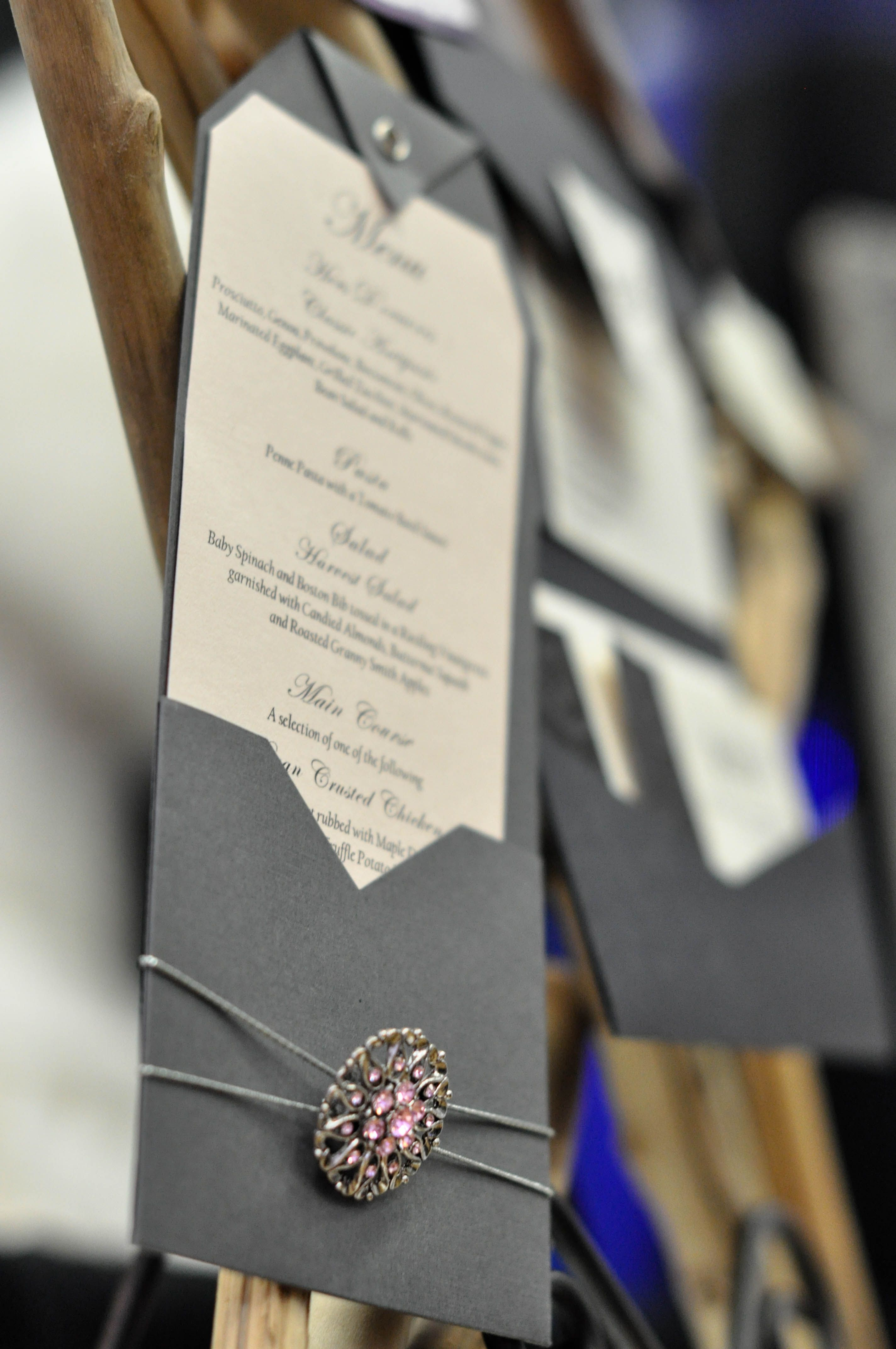 Menu by Designs of Perfection.  www.weddingshows.com