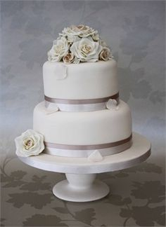 A Classic 2 Tier Wedding Cake Perfect For Small Complete With Handmade Sugar Roses