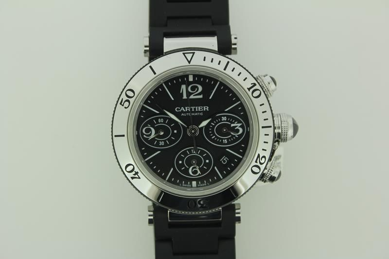 Classic Cartier Pasha Seatimer Chrono Automatic steel, with rubber/steel band.  http://www.goldbergjuweliers.nl/shop/products-page/cartier-horloges/cartier-pasha-seatimer-chrono-automatic