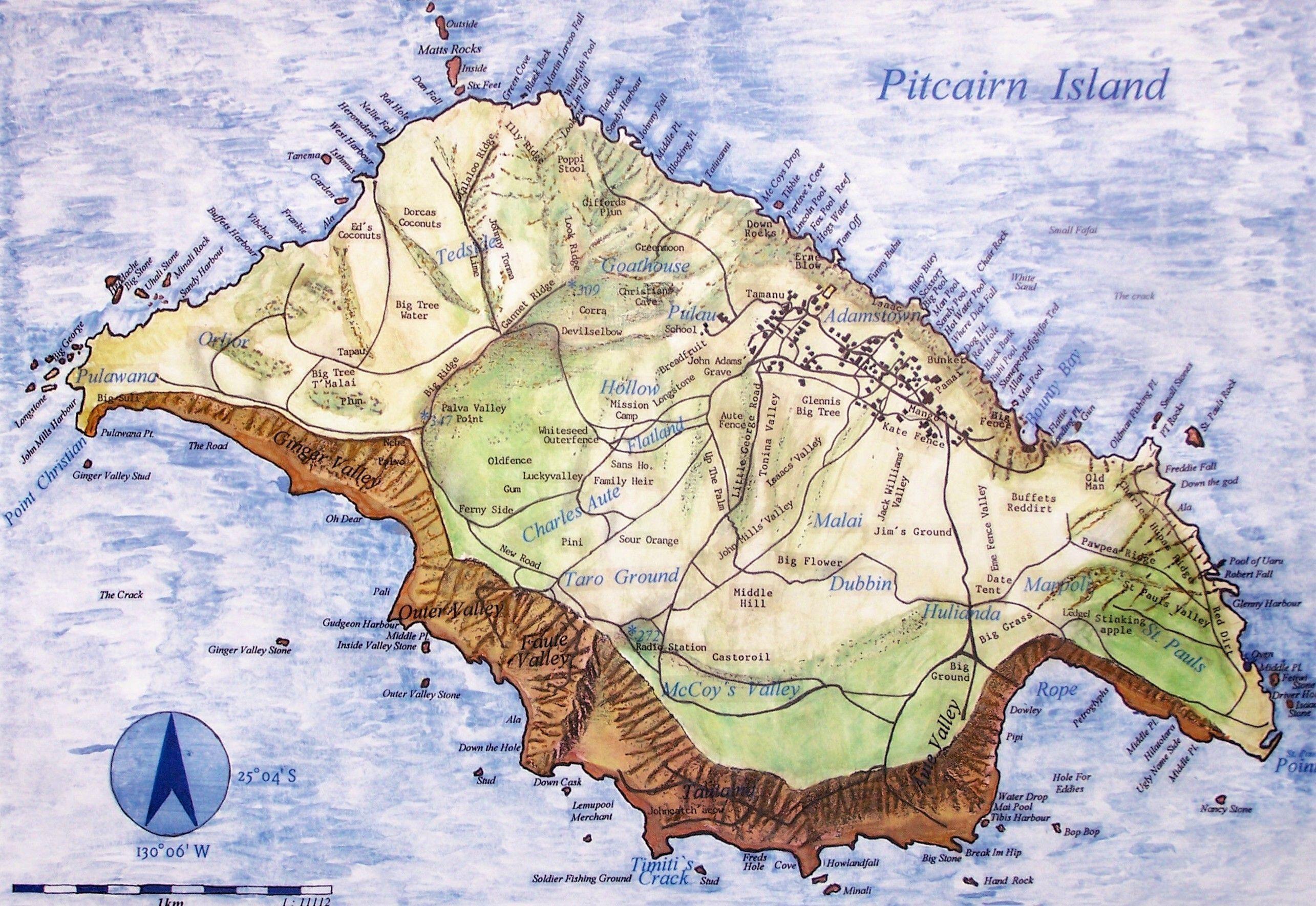 Pitcairn Island Map Pitcairn Mappery Pitcairn Islands Pitcairn Island Map