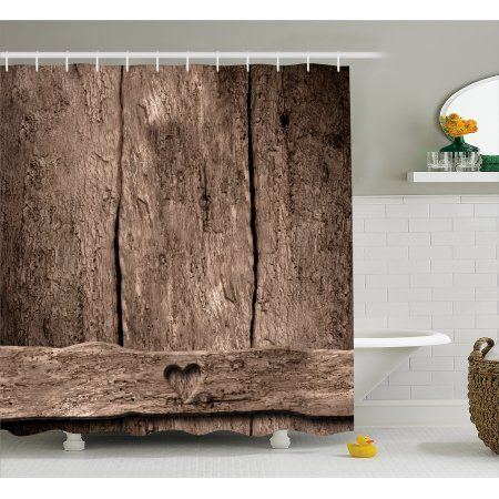 Primitive Country Decor Shower Curtain, Love Themed Romantic Cute ...