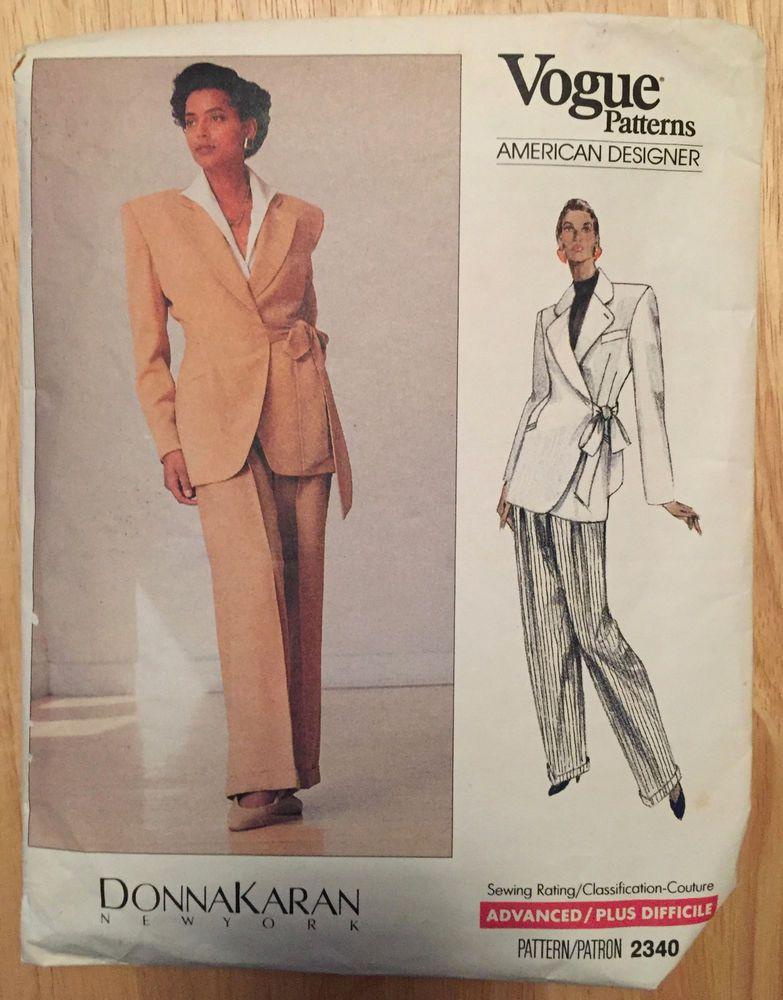 Vogue sewing pattern Donna Karan women\'s pant suit #2340 size 12-14 ...