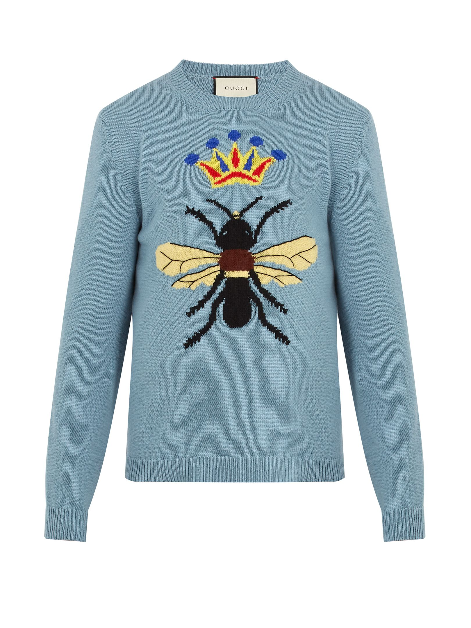 2404c9b55d5 GUCCI BEE AND CROWN-INTARSIA WOOL SWEATER.  gucci  cloth