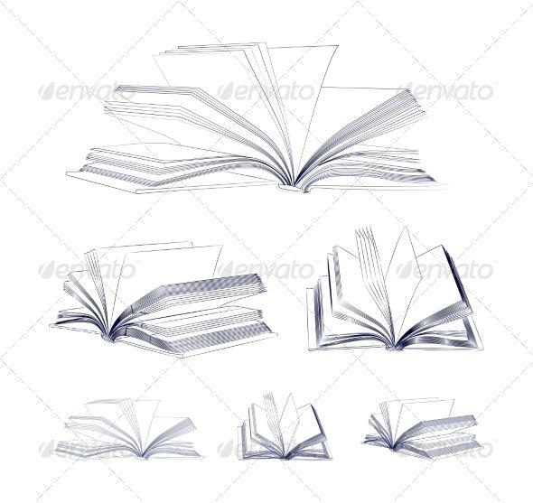 Open Book Sketch Set Open Book Tattoo Open Book Drawing Open Book