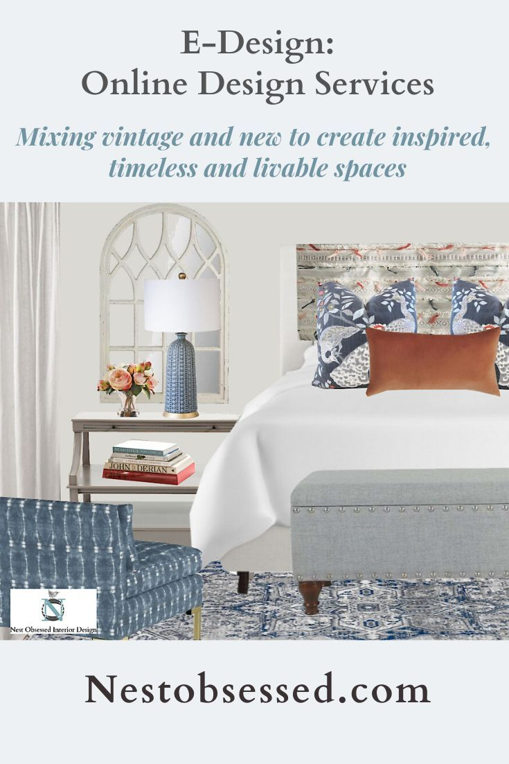A concept board like this is so important to help you visualize the look before you buy. Working with clients all over the USA via online design - E-Design. Let's create a beautiful room for you! I love to mix vintage (found or family pieces) with new to create rooms that reflect your unique style! #nestobsessedinteriors #interiordesign #edesign #edesigner #edesigntribe #conceptboard #mixingvintageandnew #bedroom #boho #cottagestyle