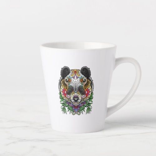 Panda Bear Tattoo Day Of The Dead Floral Mexican A Latte Mug