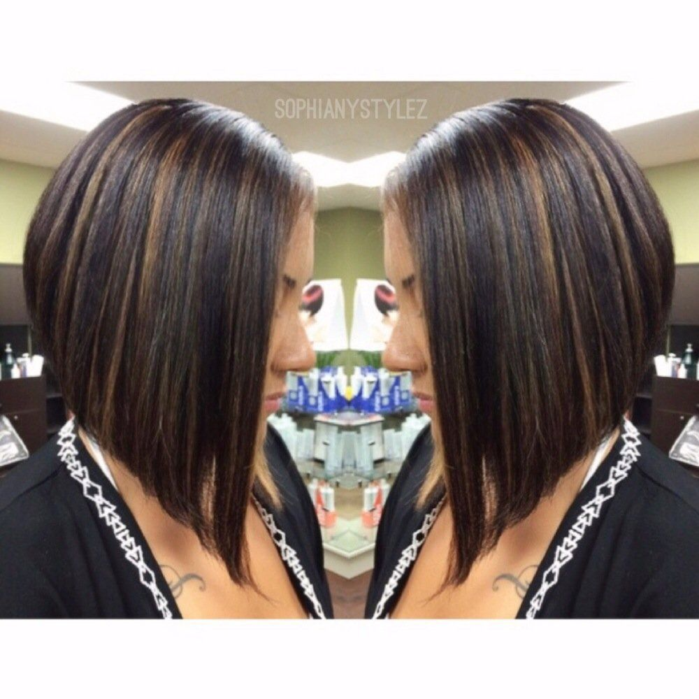 A Line Bob Cut Dramatic A Line Bob Haircut Dark Brown Base