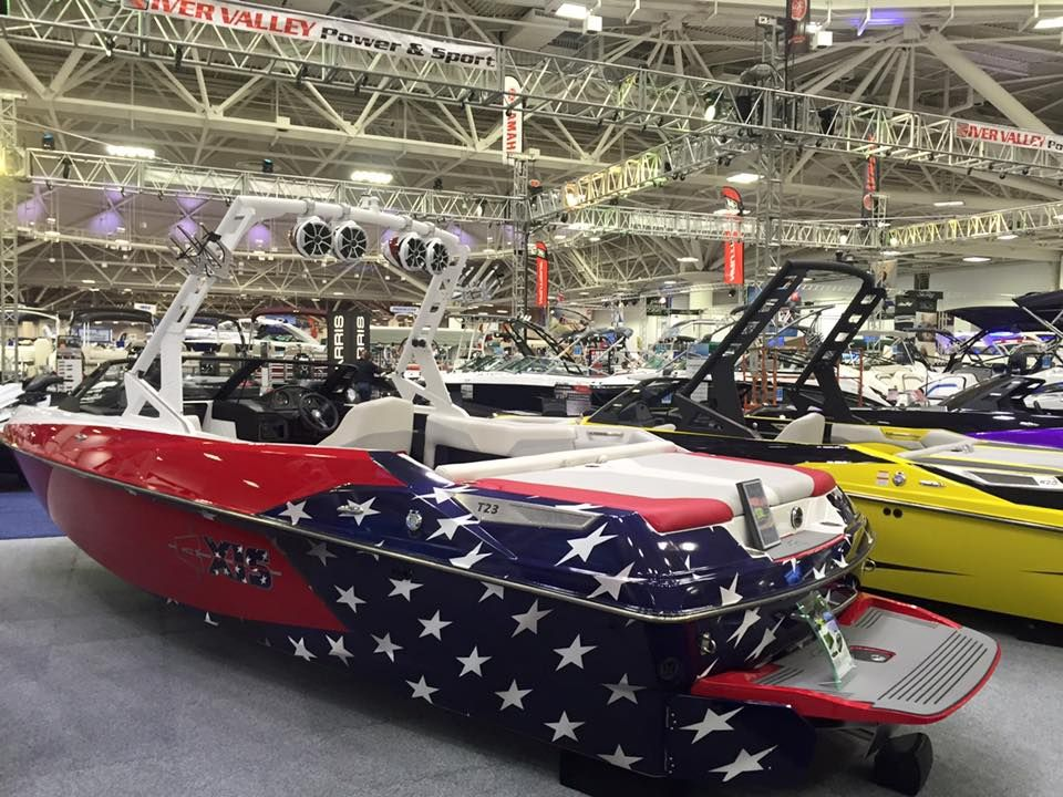 America Red White Blue Axis Boat Wrap Ultimateboatwraps