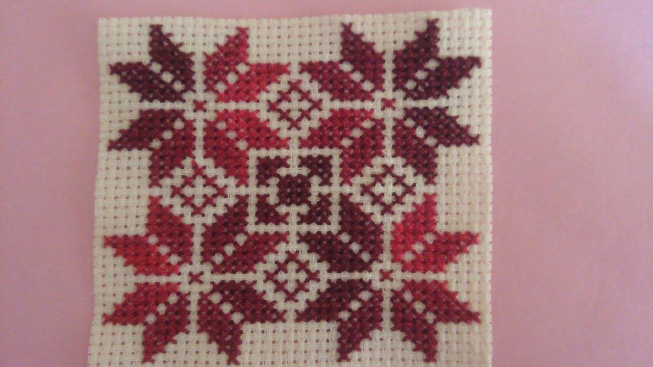 تعليم تطريز النجمة اسهل باترون تطريز Cross Stitch Christmas Sweaters Stitch