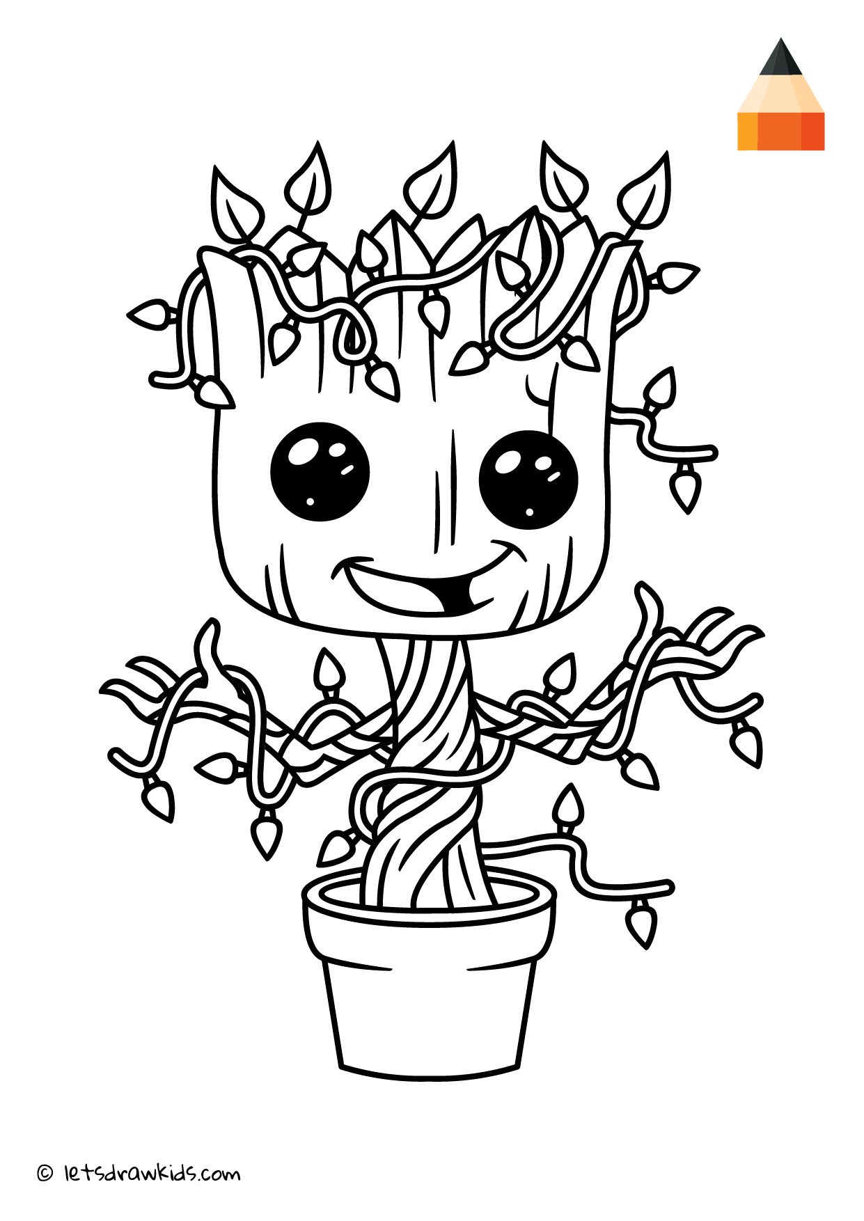 Groot Coloring Pages Easy Concept