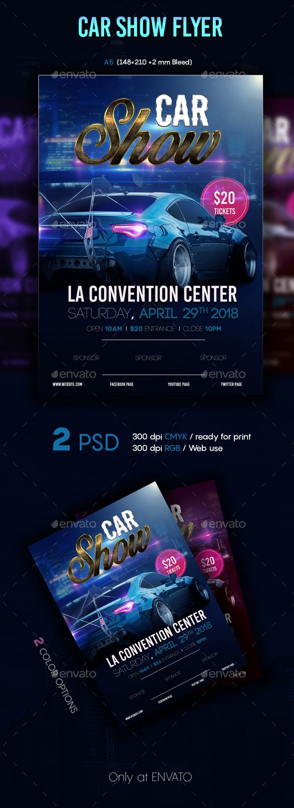 Car Show Flyer Template PSD. Download here https