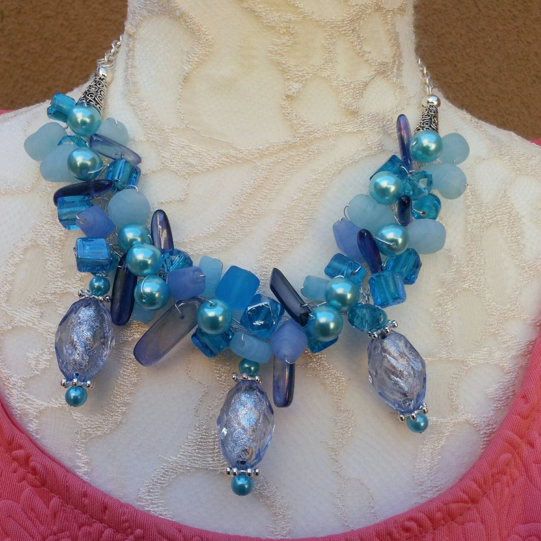 494e070a27795 Unique Colorful Chunky Cluster Statement Necklace - Fun Gift for Her ...