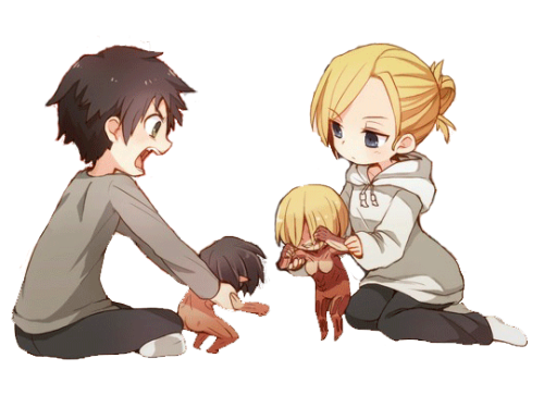 Eren and Annie playing with their respective titan dolls (Attack on Titan)