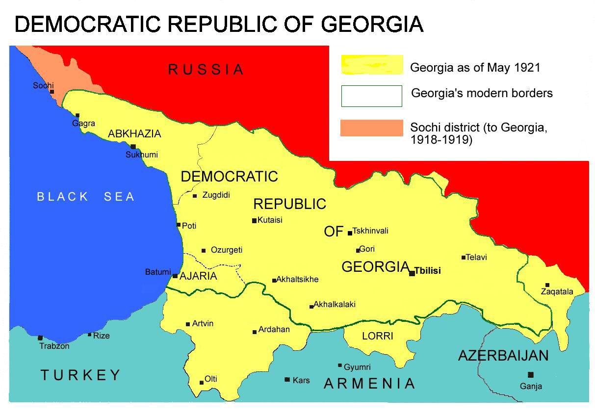 Democratic Republic Of Georgia Map 1918 1921 The World