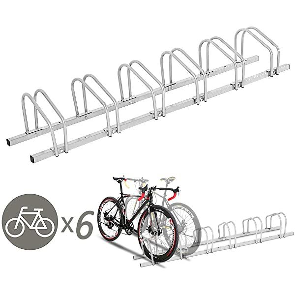 Amazon Com Lly Houseware 6 Bicycle Floor Parking Adjustable Storage Stand Bike Rack Parking Gara In 2020 Bicycle Stand Bike Storage Stand Garage Storage Organization