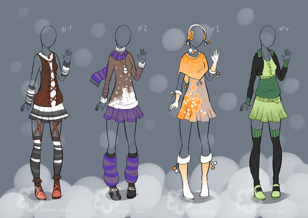 Winter Outfit Designs sold by Nahemiisan on DeviantArt