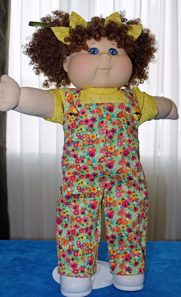Cabbage Patch Doll Cloths Green Overalls Yellow Blouse 2 Hair Bows Fits 20 Doll Clothes Cabbage Patch Dolls Yellow Blouse