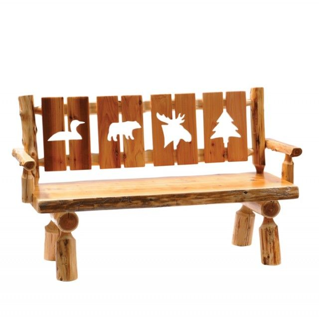 Beautiful Outdoor Fireside Lodge Furniture Cedar Log Dining Bench With Cut Out Back    1613