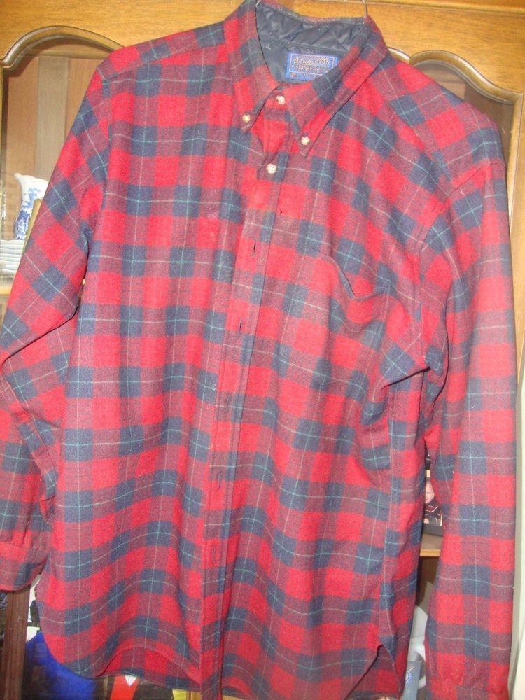 Vintage Pendleton Plaid Wool Button Down Shirt- Size Large 82g5Qk