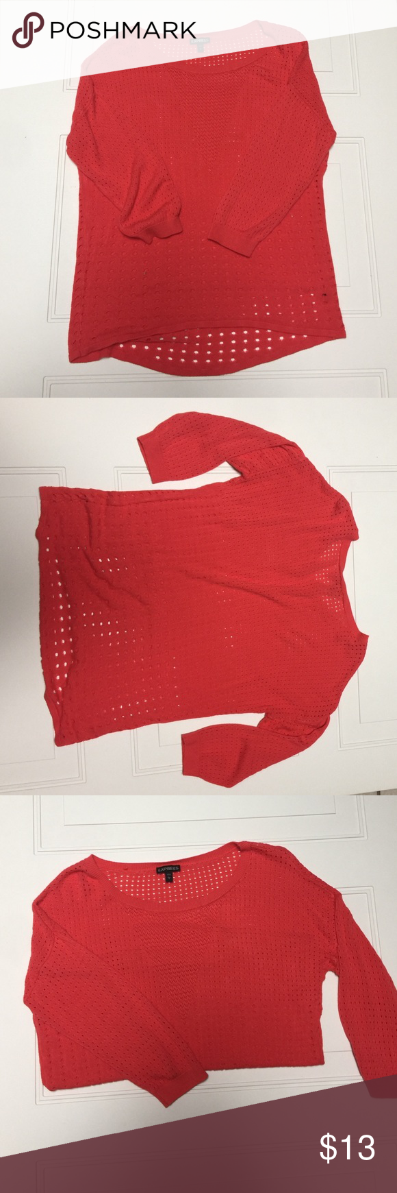 Express : Hi-Lo Sweater  In good shape! Only wore 2x. Did cut out the care tag on the side as it would show. Machine was gentle. I hung to dry. #thestyleofmissj  Express Tops