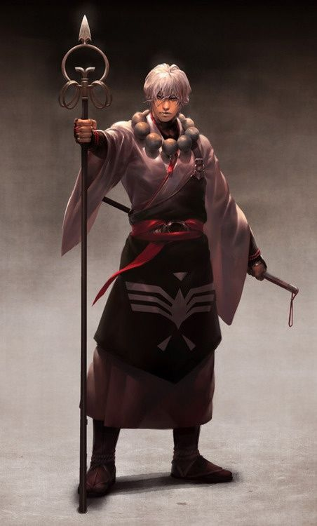 It is how the monk should looks like. Monk's robe and khakkhara - his sounding staff.
