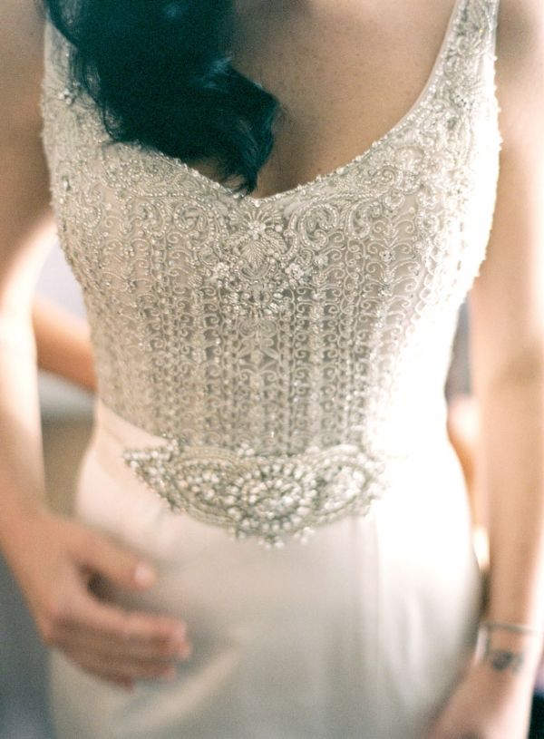 stunning detail on this Lazaro wedding gown // photo by GabeAceves.com