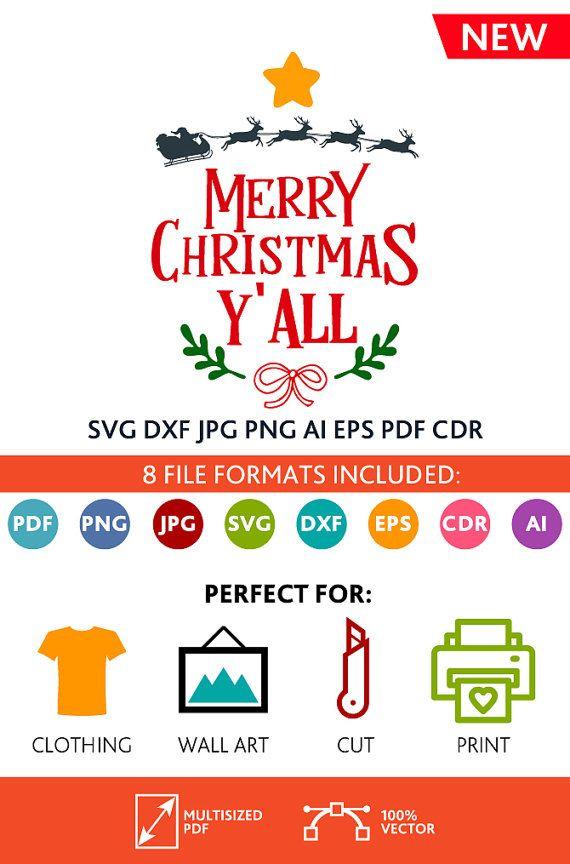Merry Christmas Y'all SVG Cut Files Wall Art Quote Printable Art Decor room Art Printable Poster digital (Svg Dxf Cdr Eps Ai Jpg Pdf Png)