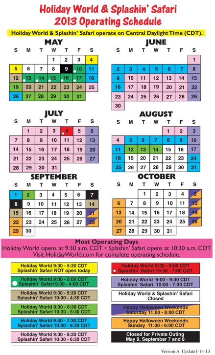 2020 Park Hours Holiday world, World, Holiday