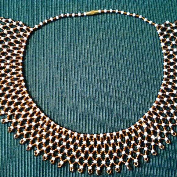 African beaded necklace NEW Made in Kenya. Brown & white beaded necklace/choker. Jewelry Necklaces