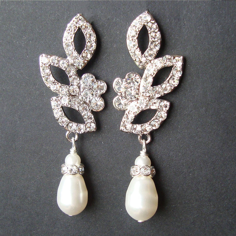 Vintage Inspired Bridal Wedding Earrings, Swarovski Crystal and ...