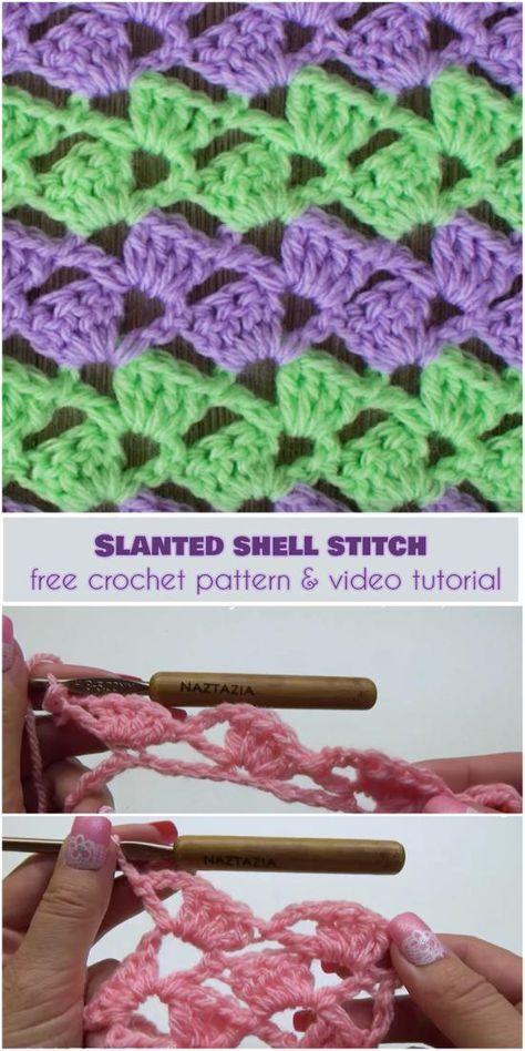 Slanted Shell Stitch [Free Crochet Pattern and Video Tutorial] | DIY ...