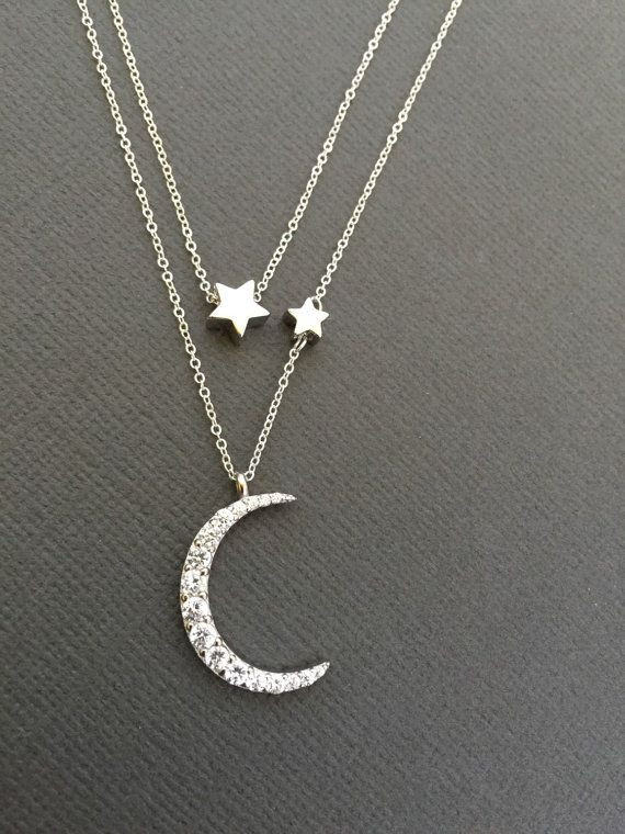 Women's Sterling Silver Multi Row Star And Moon Necklace 6t01yM2