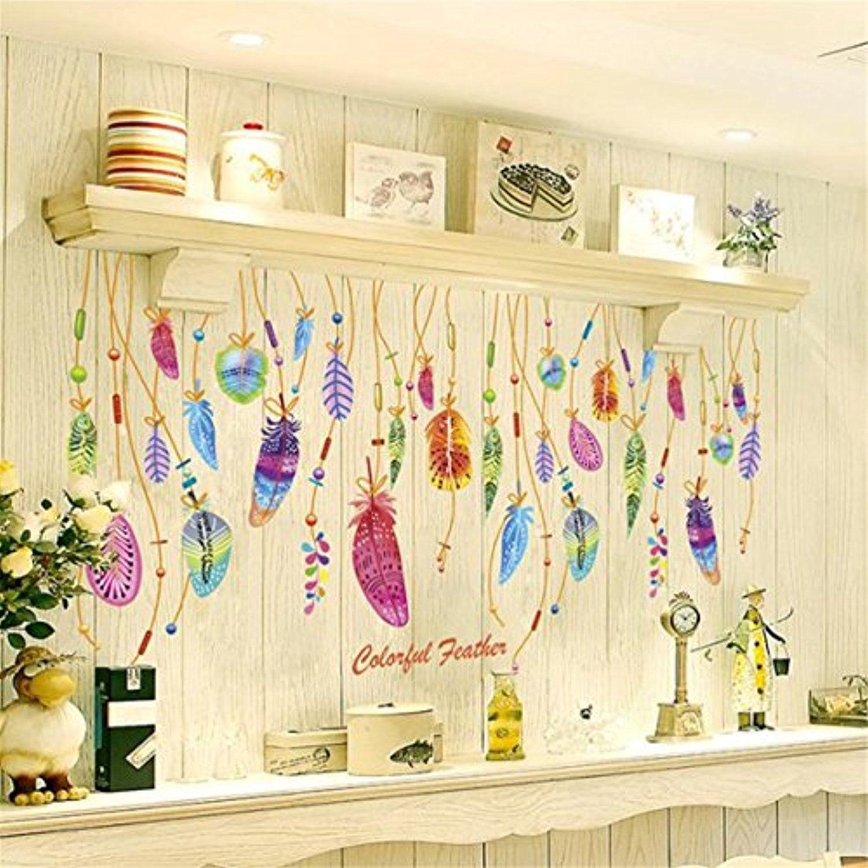 HN Feather Wall Sticker Classic Dream Catcher Sofa Art Decal Mural ...