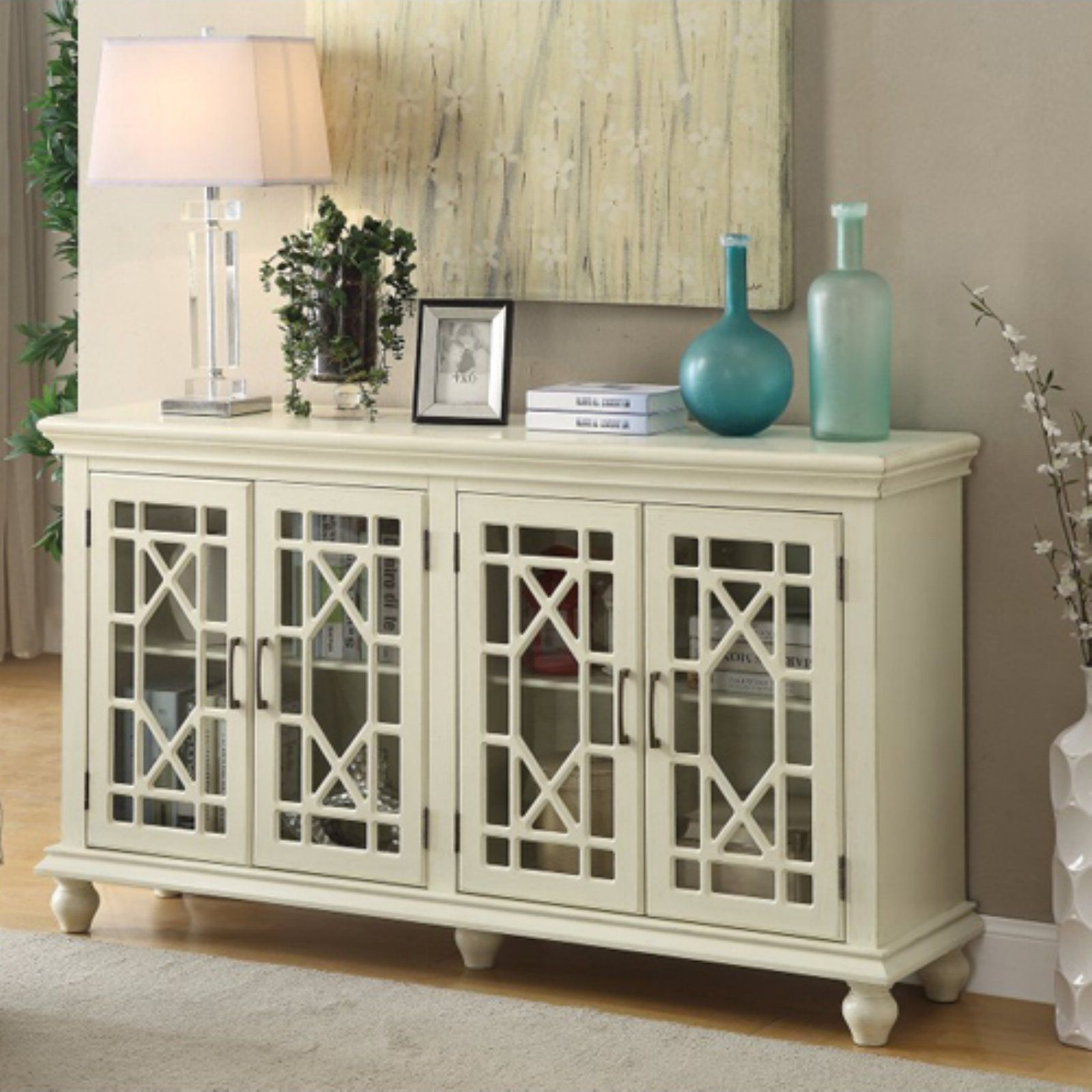 Benzara Transitional Wooden Accent Cabinet With Lattice Doors