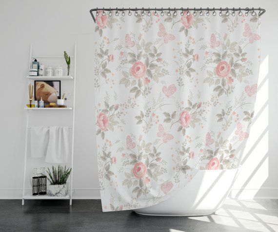 A Shower Curtain With Delightful Floral Print That Brightens Up The Bathroom Instantly Great As Housewarming Gift Too For Couples