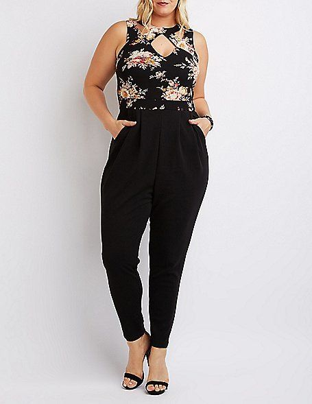 Plus Size Caged Floral Combo Jumpsuit ** You can get additional details at the image link.
