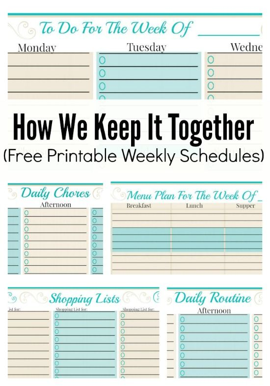 How We Keep It Together (And Free Weekly Planner Templates | On the ...