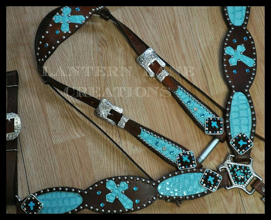 Lantern Lane Creations Turquoise Cross Headstall And
