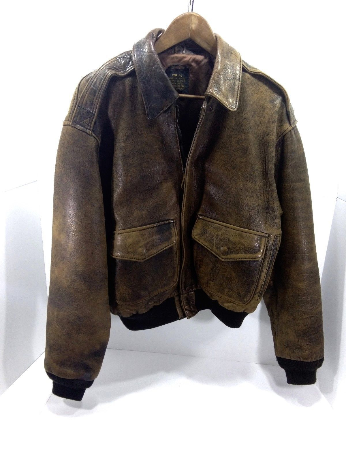 Men's Avirex Vintage Type A 2 Brown Leather Sz Small