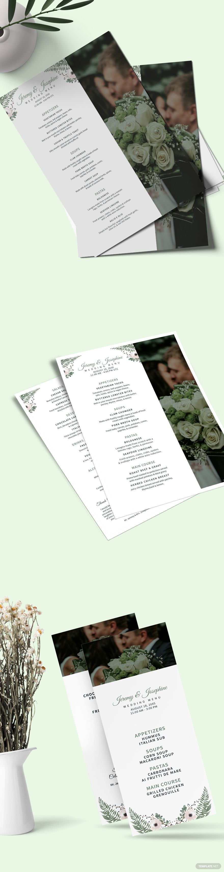 Family Style Wedding Menu Template