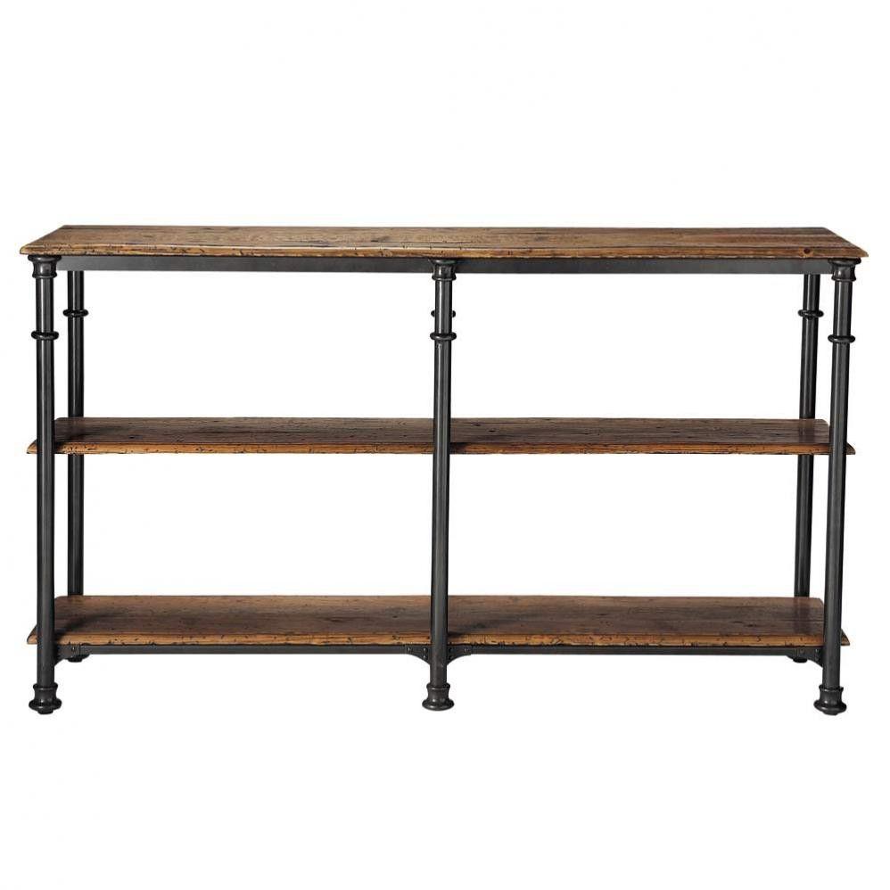 table console en m tal et bois massif recycl noire l 160. Black Bedroom Furniture Sets. Home Design Ideas