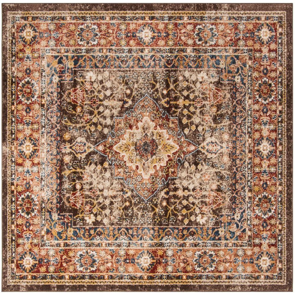 Safavieh Bijar Brown Rust 6 Ft 7 In X 6 Ft 7 In Square Area Rug Bij652d 7sq Area Rugs Rugs Persian Motifs