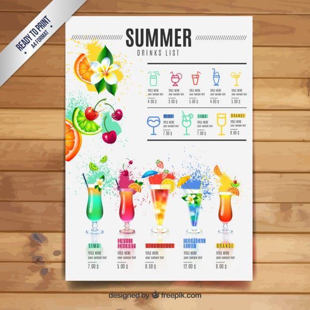 Verão lista de bebidas Inspiration Pinterest Menu, Menu - Free Drink Menu Template
