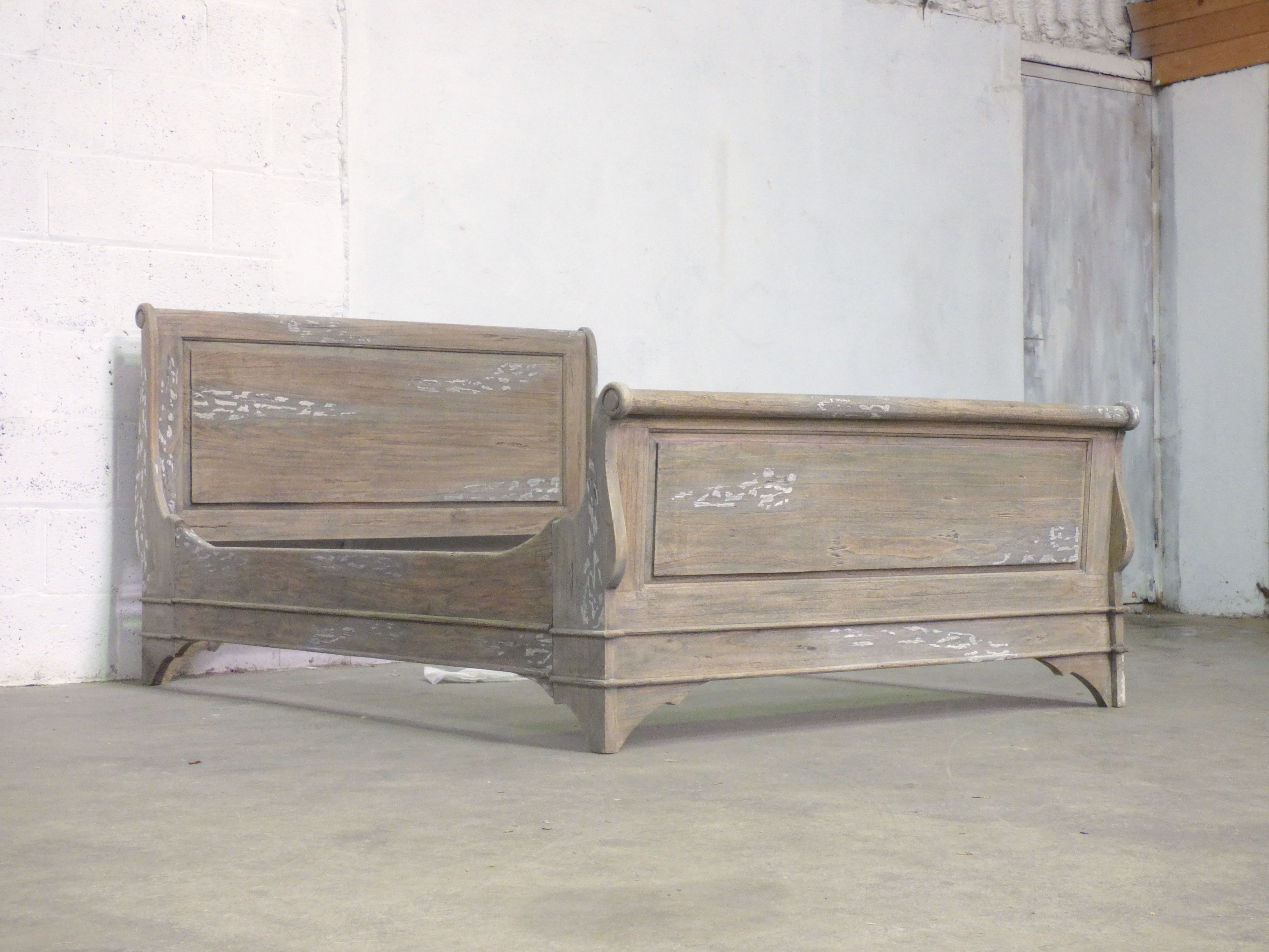 Double Sleigh bed Weathered Oak White Wash