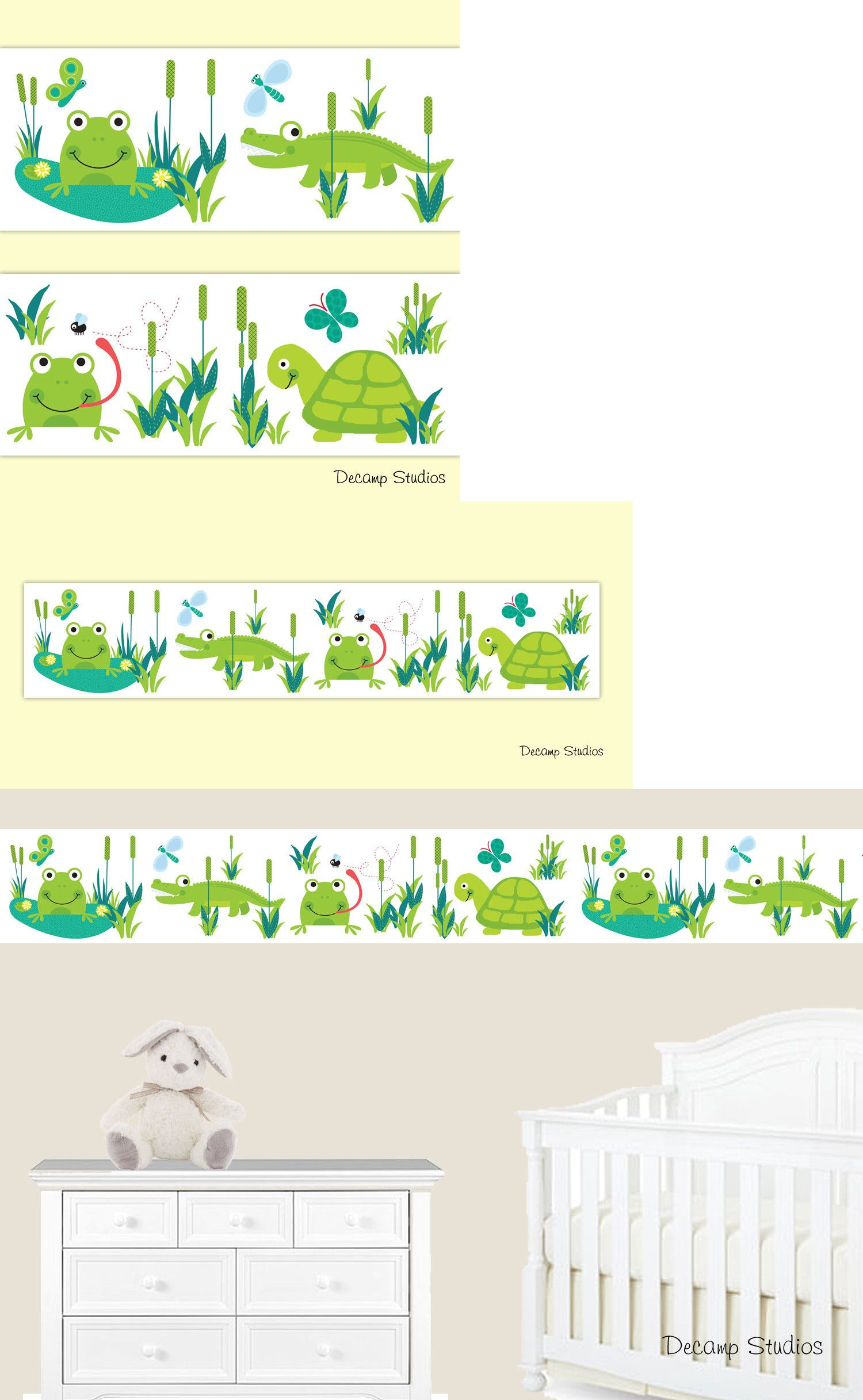Wallpaper Borders 37636 Frog Turtle Alligator Baby Nursery