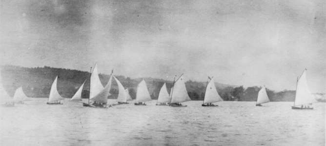 history of catboat design Beverly Yacht Club | In 1882, before the start at the Ark, 2 sloops and 10 cat boats.
