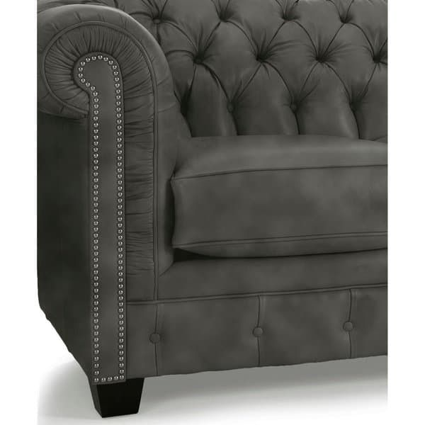 Hancock Tufted Top Grain Italian Leather Chesterfield Sofa Distressed Grey Leather Chesterfield Sofa Leather Chesterfield Gorgeous Sofas