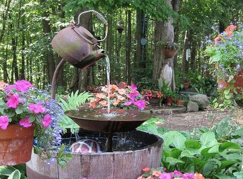 Tea pot fountain easy diy perfect for your garden water for Pot water fountain designs