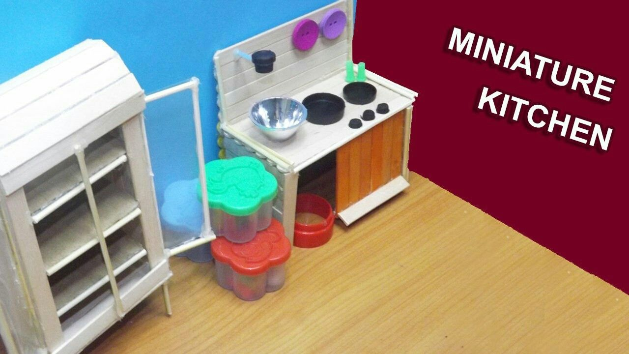 how to build miniature furniture. DIY Miniature Kitchen Dollhouse Furniture| Popsicle Stick Craft How To Build Furniture