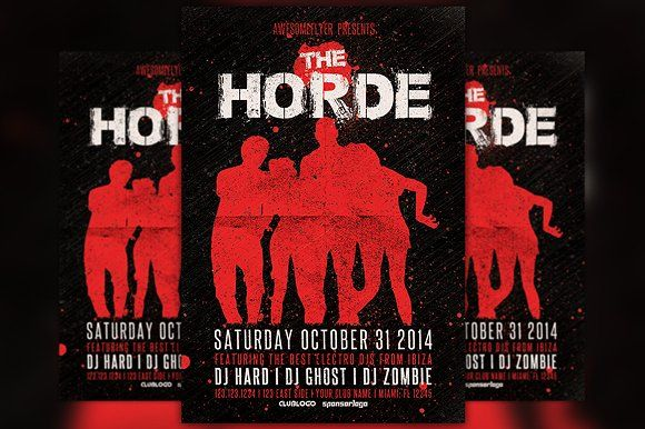 The Horde Halloween Party Flyer By Flyermind On Creativemarket
